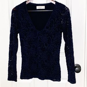 Abercrombie & Fitch Navy Lace Blouse Size Small